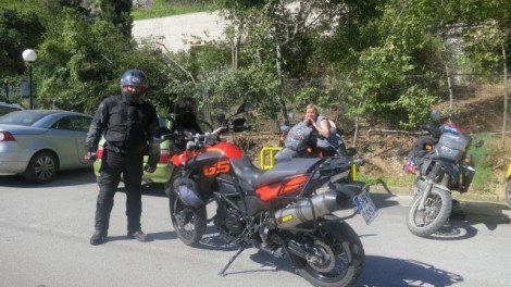 This guy just whizzed past then turned around to say hi and asked about the trip. Shot past us again just before Athens.... an Athenian just out for a lil ride around the mountains? :-)