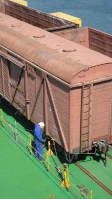 removing the chains that held the wagons secure