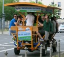 everyone pedal! and Prost! driving around berlin in a beer-cycle-bar